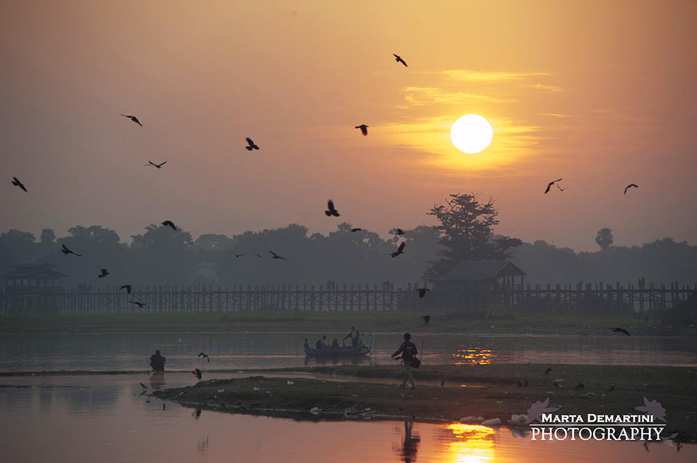 Sunrise at U Bein Bridge, Amarapura, Myanmar
