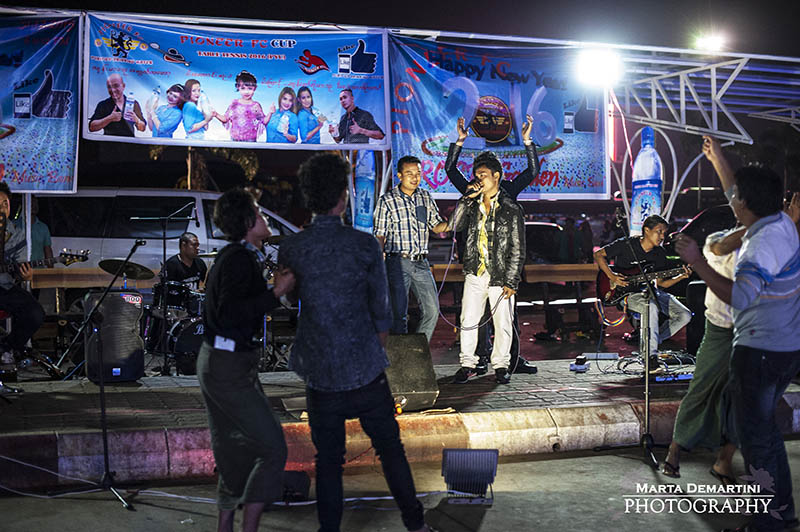 Live band music playing outside a restaurant to celebrate the New Year's Eve, Myanmar